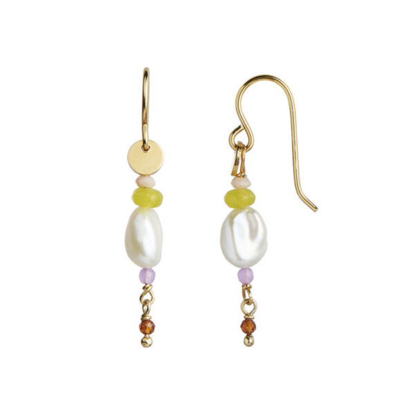 Stine A Petit Baroque Pearl Ørering Guld Med Candy Stones Soft Lime