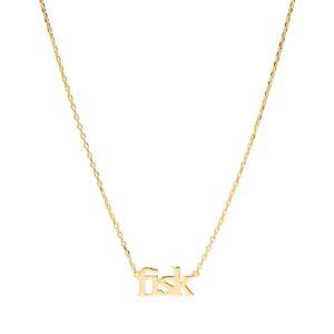 Sui Ava Stjernetegn halskæde, Fisk - Guld