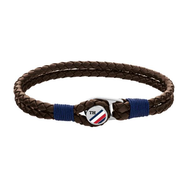 Tommy Hilfiger brun flettet læderarmbånd i med stål logo lås