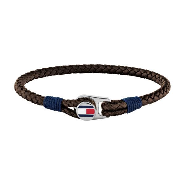 Tommy Hilfiger brun flettet læderarmbånd med stål logo lås