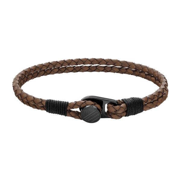 Tommy Hilfiger flettet læderarmbånd i brun med sort logo lås
