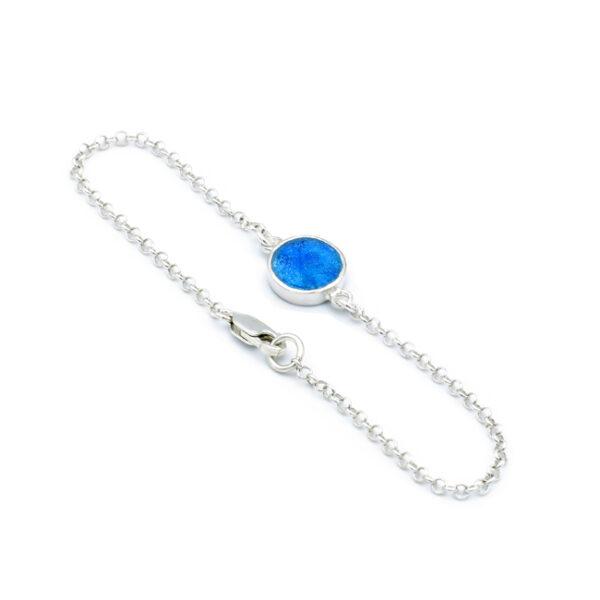 Tyndt armbånd i sølv med rundt romersk glas vedhæng