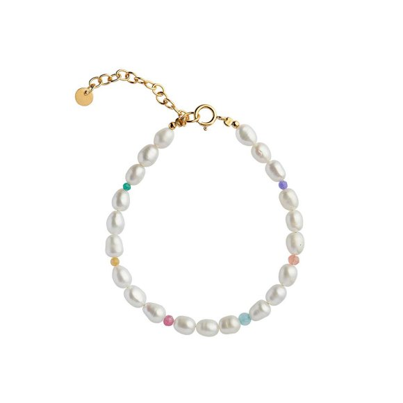 White Pearls And Candy Stones Bracelet   Forgyldt Fra Stine A