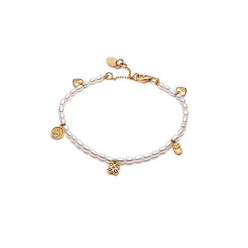 With Love Darling People Pearl armbånd - Gold